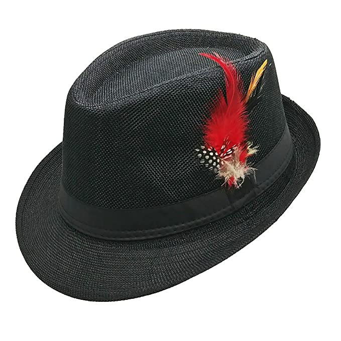 46af69f3fd67b9 List A Fedora Hat with Band & Feather Trilby Gangster Mob Panama Jazz  Vintage Style (