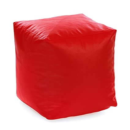 Swell Style Homez Large Square Bean Bag Ottoman Stool With Beans Red Machost Co Dining Chair Design Ideas Machostcouk