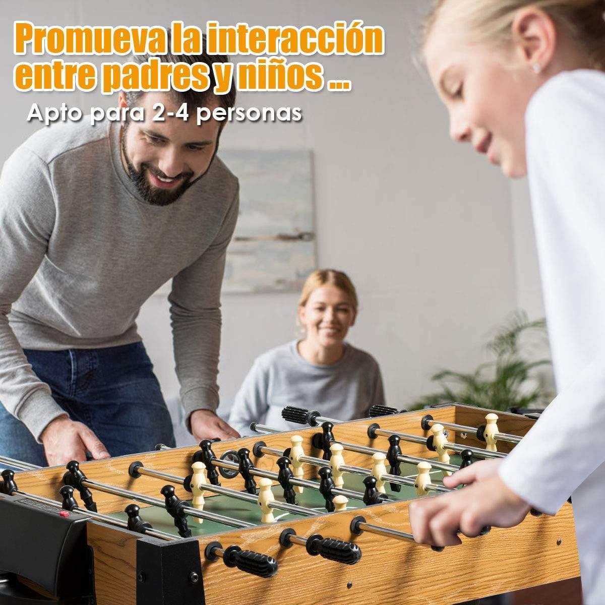 COSTWAY Futbolín para Adultos y Niños Mesa de Juego Futbolín de Madera 122x61x79centímetros para Bar Casa Fiesta Cuarto de Juegos: Amazon.es: Juguetes y juegos