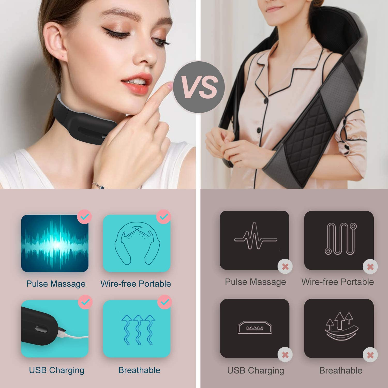 Neck Massager, Intelligent Neck Massage with Heat, Portable Cordless Massage Equipment, 3 Modes 15 Speeds Electric Pulse Massage at Home Office Travel, Gifts for Women Men Dad Mom Festive Present: Health & Personal Care