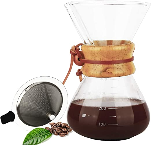 Manual Hand Drip Coffee Maker Glass Pot with Stainless Steel ...
