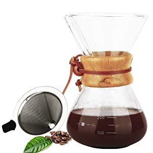 Pour Over Coffee Maker, OAMCEG 14 oz Borosilicate Glass Carafe and Reusable Stainless Steel Permanent Filter Manual Coffee Dripper Brewer with Real Wood Sleeve