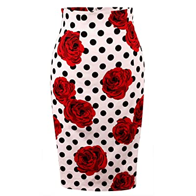 Daonanba Women's High Waisted Knee Length Bodycon Slim Office Wear Pencil Cotton Mini Skirts at Amazon Women's Clothing store