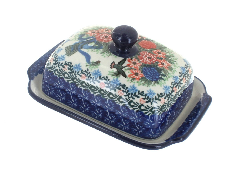 Blue Rose Polish Pottery Blush Bouquet Butter Dish