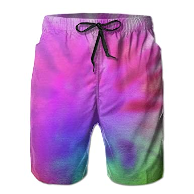 7fef5535ea Rainbow Tie Dye Summer Mens Quick-drying Swim Trunks Beach Shorts |  Amazon.com