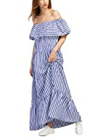 Off the Shoulder A Line Women's Dresses Blue Short Sleeve Contrast Striped Flounce Layered Tiered Dress