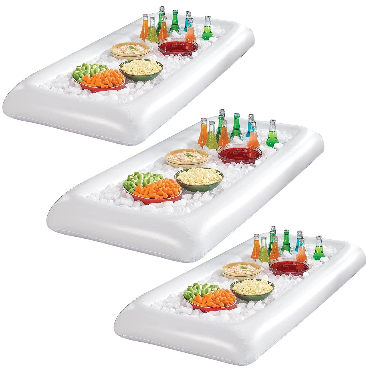 Sorbus Inflatable Serving Bar Salad with Drain Plug Ice Tray Food Drink Containers - BBQ Picnic Pool Party Supplies Buffet Luau Cooler (3 Salad Bars) by Sorbus