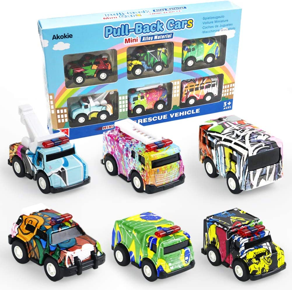 Coche Vehiculos Camion Juguetes Aleacion Friccion Graffiti Dise/ño Accesorios Ni/ños 6 PCS Ideal Regalo para 3 4 5 6 Ni/ños