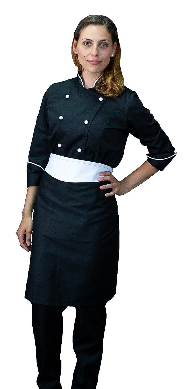 tessile astorino completo, divisa cuoco chef donna, pantalone giacca e davantino, nero e bianco, Made in Italy