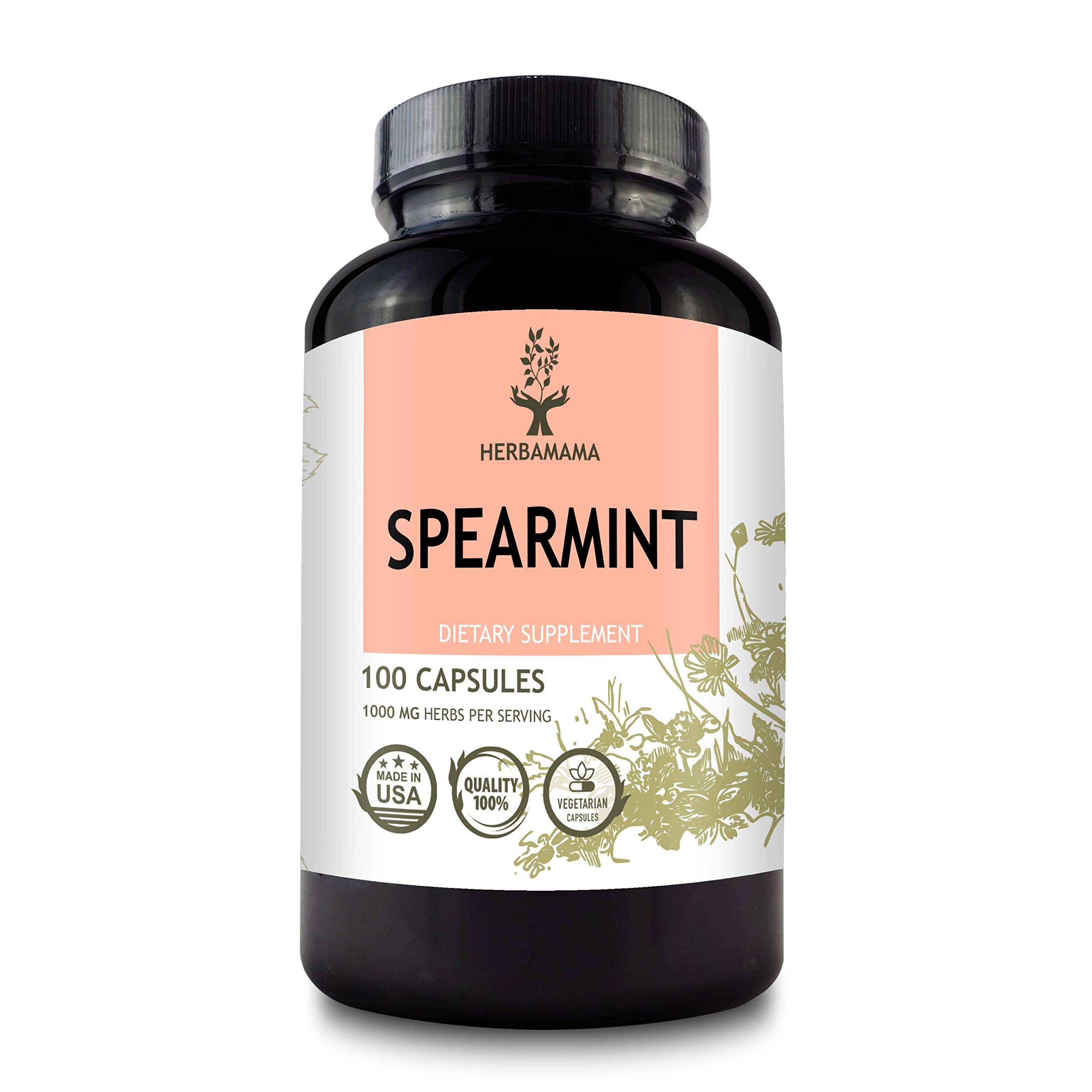 HERBAMAMA Spearmint 100 Capsules - 1000 mg - Organic Mentha Spicata Dietary Daily Supplement - Natural Support for Digestive, Heart & Respiratory Function - for Stress Relief - Vegan, Non-GMO