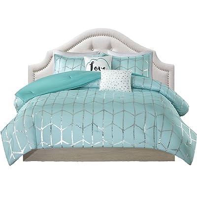 Teen Bedding For Girls Comforter Set Full Queen King Twin Aqua Blue Silver  Metallic Print Dorm Room Bedspread Bundle Includes Bonus Coordinating Sleep  Mask ...