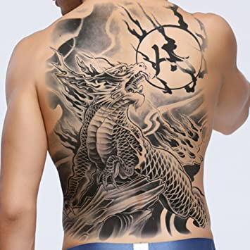 Tafly Full Back Large Tattoos Stickers Dragon Waterproof