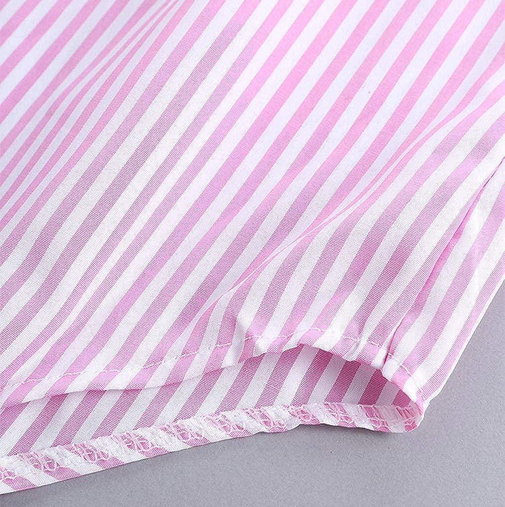 Meikosks Womens Turn-Down Collar Button Blouses Stripe Tops Plus Size Long Sleeve Shirt Loose Tunic