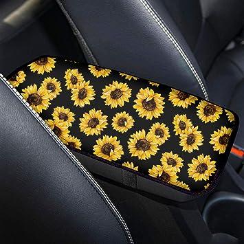 Fashion Design Vehicle Armrest Cover Protector Universal Fit Most Car Truck SUV Sedan HUGS IDEA Sunflower Print Center Console Armrest Cover Pad