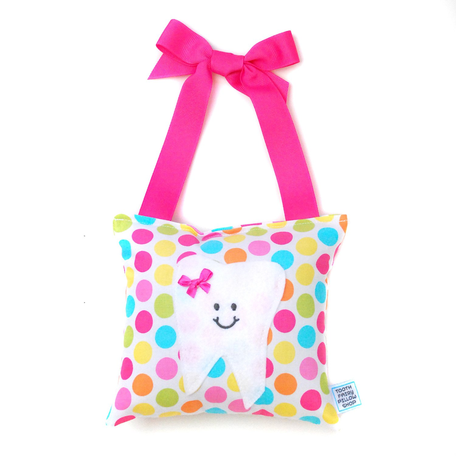 Girl's Tooth Fairy Pillow in Polka Dot Print Cotton Tooth Fairy Pillow Shop SYNCHKG056934
