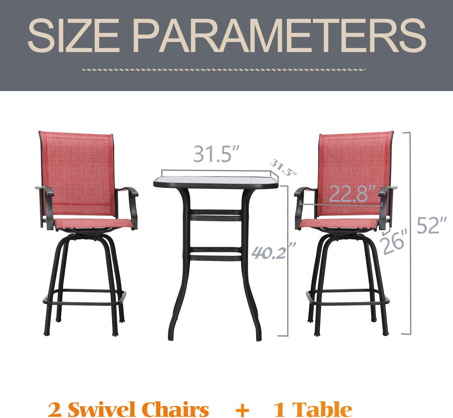LOKATSE HOME 3 Pcs Bar Stools Set 2 High Swivel Chairs and 1 Height Outdoor Bistro Table, Patio Furniture, Red Tesling Fabric : Garden & Outdoor