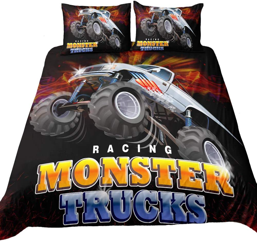Suncloris,3D Monster Truck Home Bedding,Flying Monster Truck Against Dark Crazy Monster Truck Duvet Cover Sets.Included: Duvet Cover,Pillowcase(no Comforter Inside) (Twin)