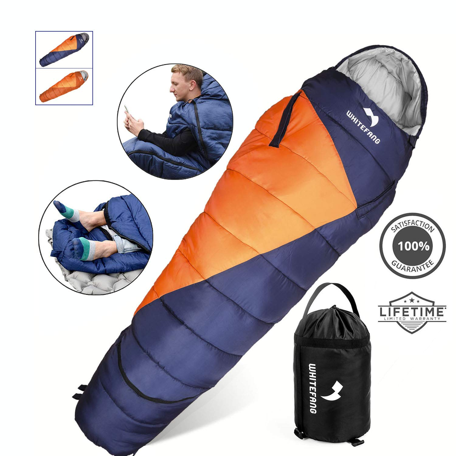 WhiteFang Sleeping Bag with Compression Sack,Wearable Portable Lightweight and Waterproof for Adults & Kids,3-4 Season Mummy Sleeping Bags Great for Hiking, Backpacking,Camping and Outdoor by WhiteFang