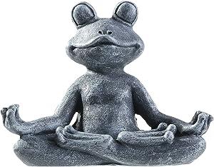 Meditating Zen Yoga Frog Figurine Garden Statue, Indoor/Outdoor Garden Sculpture for Home, Patio, Yard or Lawn 4.72
