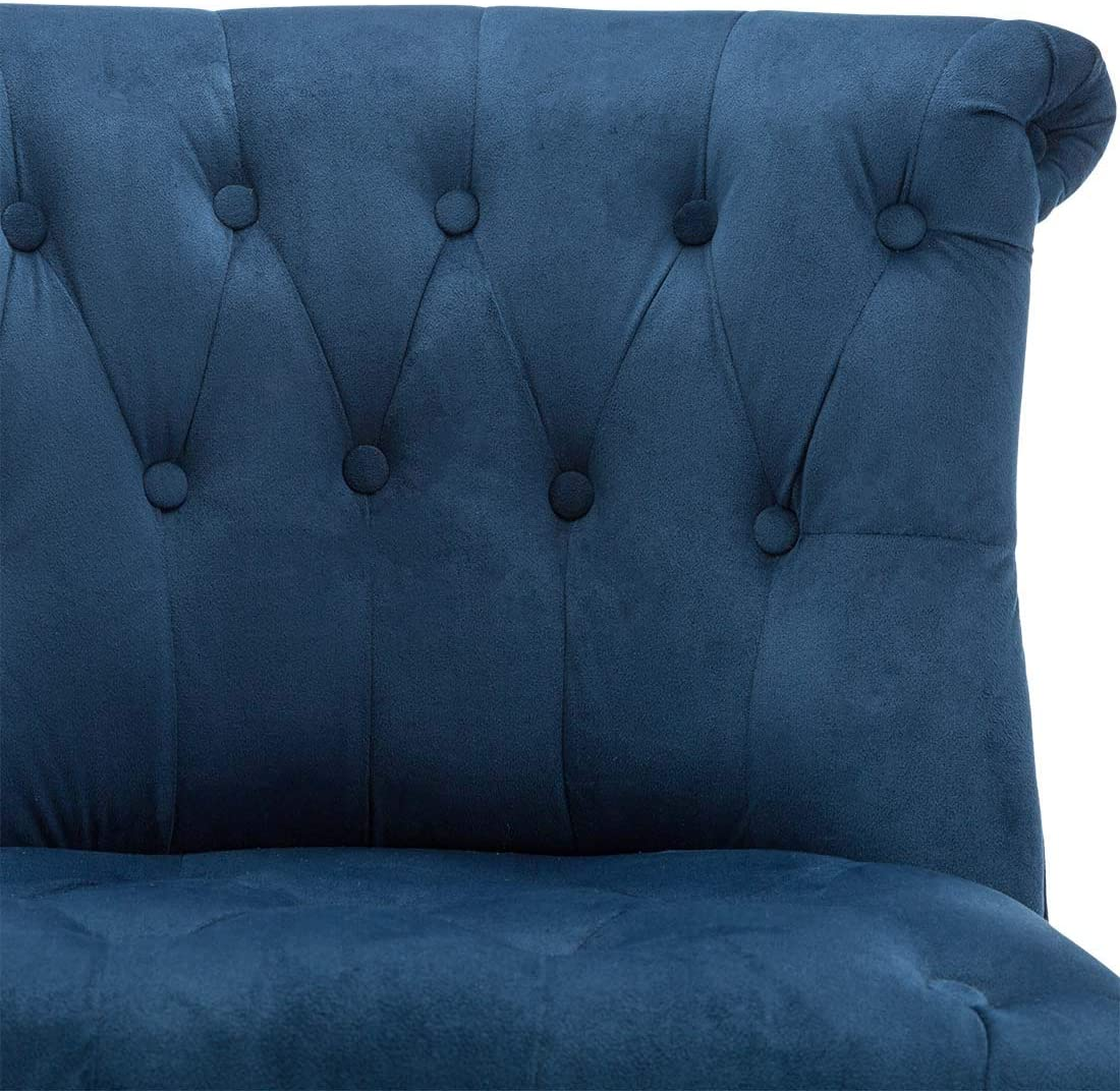 KEELA VELVET BUTTON BACK OCCASIONAL BEDROOM LIVING ROOM FABRIC ACCENT CHAIR Midnight Blue