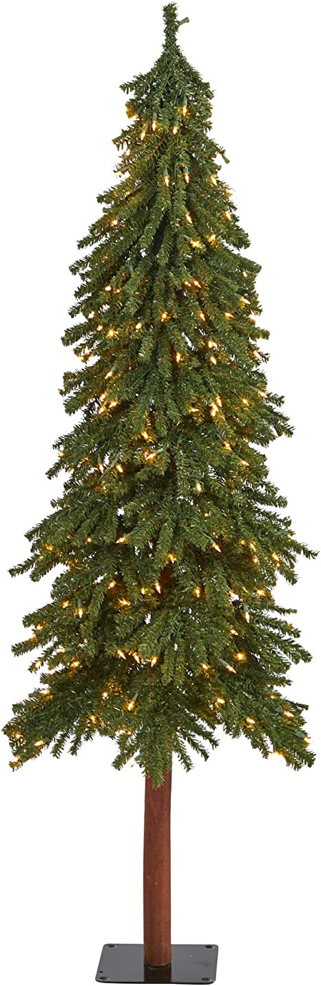 Nearly Natural 6ft Grand Alpine Artificial Christmas Tree With 300 Clear Lights And 601 Bendable Branches On Natural Trunk Green Home Kitchen