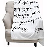 Luxuriously Soft Scripture Throw Blanket | Jeremiah 29:11 | 50x60 inches (Ivory)