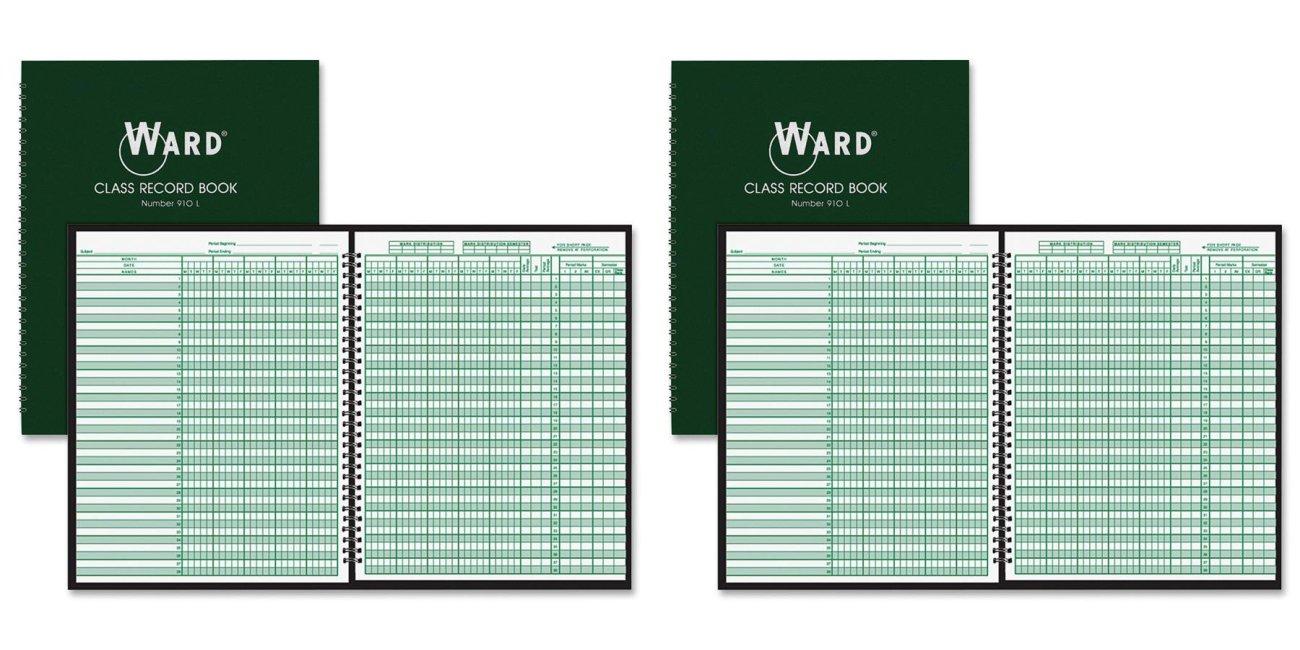 Ward 910L Class Record Book, 38 Students, 9-10 Week Grading, 11 x 8-1/2, Green (HUB910L) The Hubbard Company Ward® WAR910L