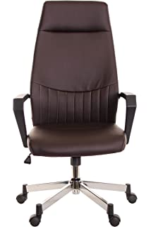 TimeOffice Ergonomic High Back Task Office Chair with Arms - PU Brown  Leather Executive Swivel Chair