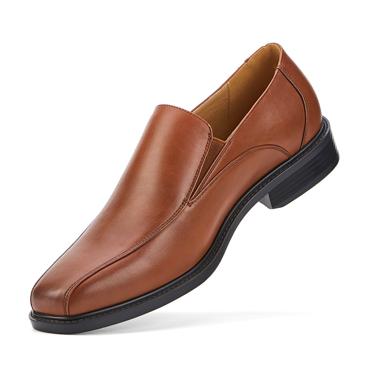 SEMANS Men's Dress Shoes Slip On Formal Leather Loafer Shoes Stylish Bicycle Toe Brown 11 D(M) US