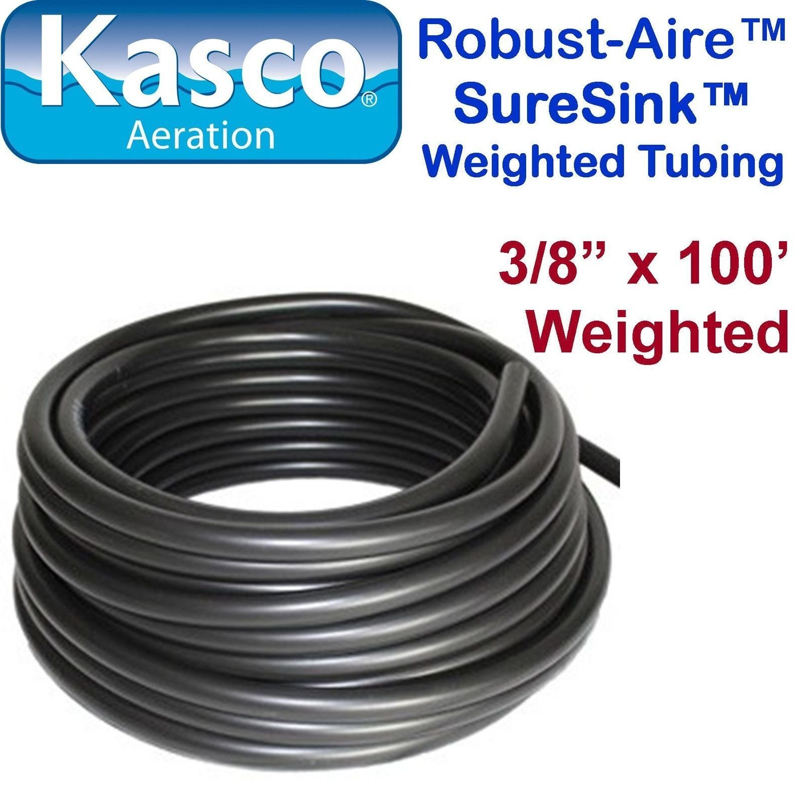 (Ship from USA) Kasco Aeration Robust-Aire SureSink Weighted Tubing 773380 - 3/8'' x 100' /ITEM NO#E8FH4F854100475