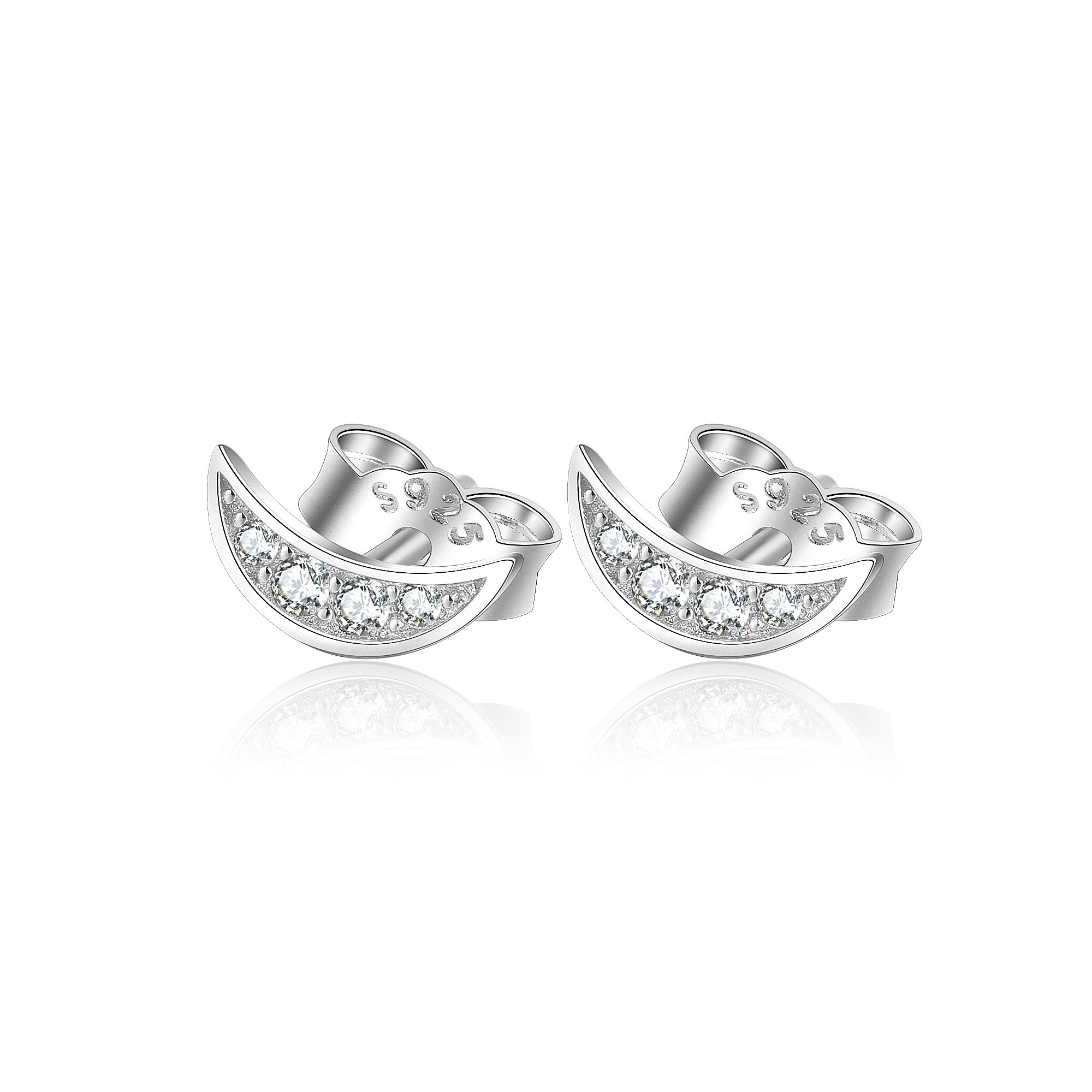 Moon Stud Earrings Sterling Silver, Cubic Zirconia Moon Earrings for Women Girls (white-gold-plated-silver)