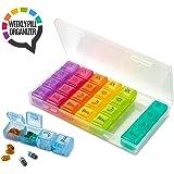 Pastillero organizador semanal - Caja de pastillas Am/Pm de 4 compartimentos, Estuche de