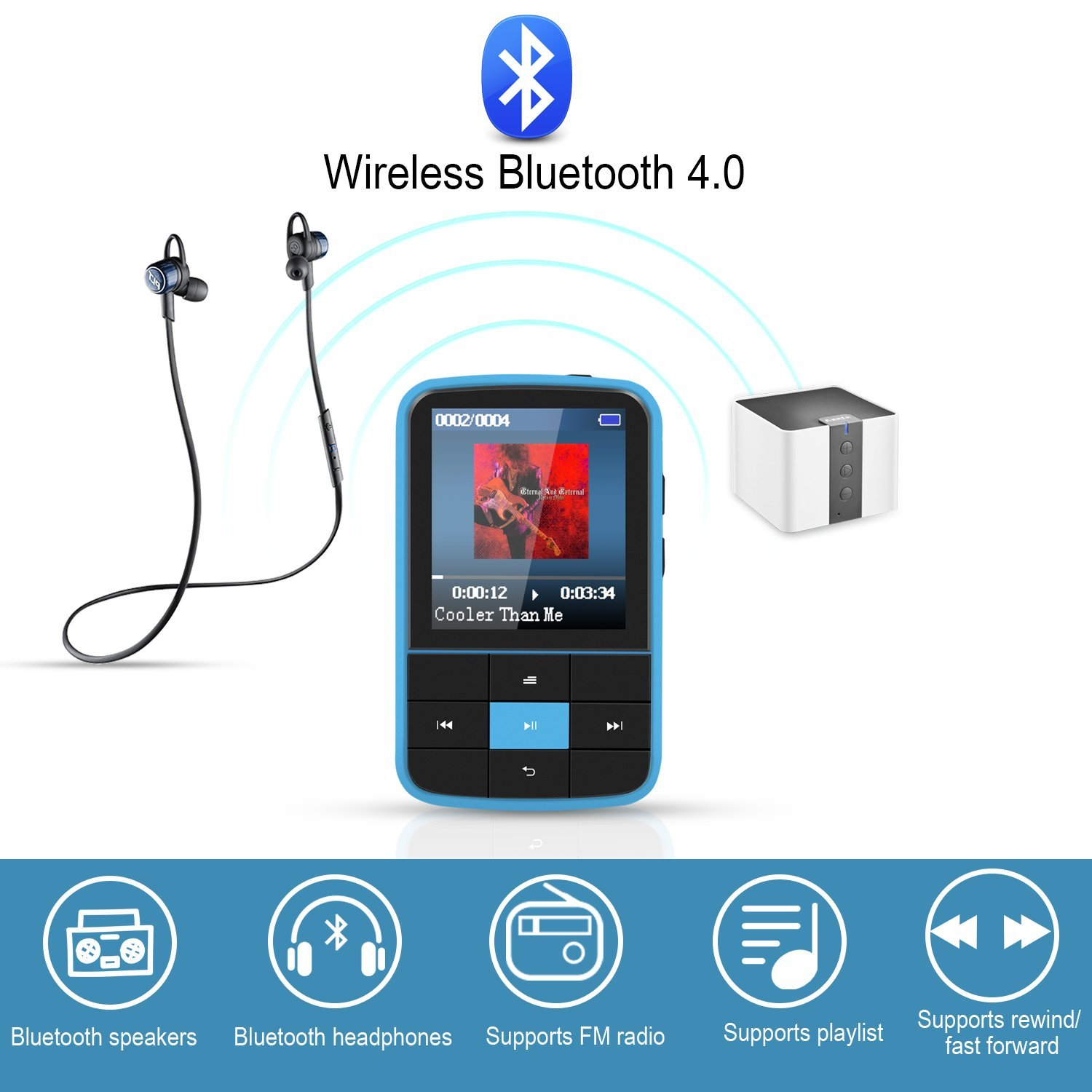 AGPTEK 16GB Clip MP3 Player with Bluetooth 4.0, Wearable Portable Music Player with Sweatproof Silicone Case and Sport Armband Expandable Up to 128GB, Blue(G15) by AGPTEK (Image #3)