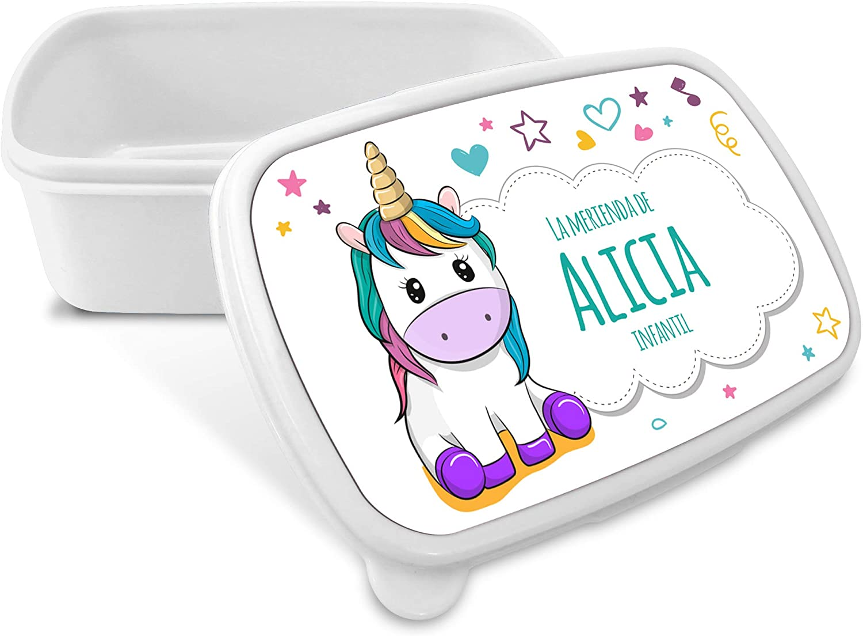 LolaPix Caja Merienda Unicornio Vuelta al Cole Personalizada con Nombre/Curso. Varios Diseños a Elegir