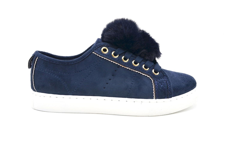 shy38 * Zapatillas bajos tenis Sneakers efecto ante Uni con pompones bola forro - Mode Mujer (azul marino), azul (azul marino), 40 EU: Amazon.es: Zapatos y ...