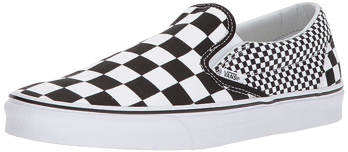 Vans Classic Slip Schuhe Unisex Damen Herren Erwachsene Schwarz Weiß Kariert