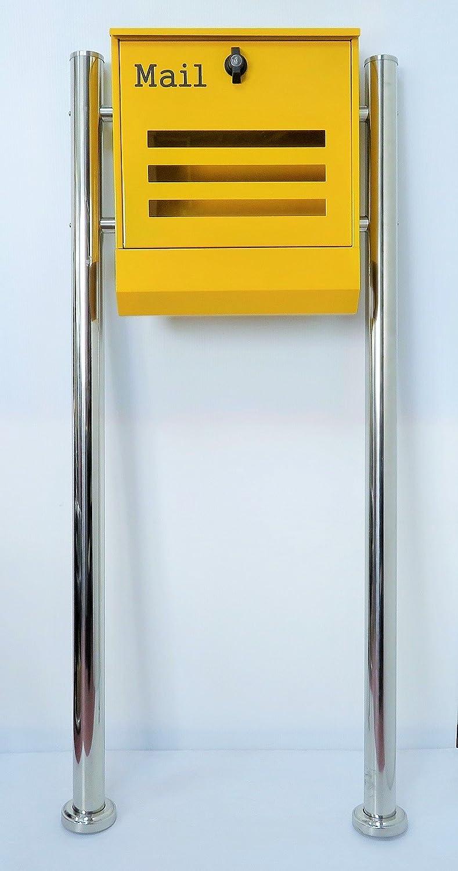 郵便ポスト郵便受け北欧風大型メールボックススタンド型プレミアムステンレスイエロー黄色ポストpm144s B018NNSGEW 21880