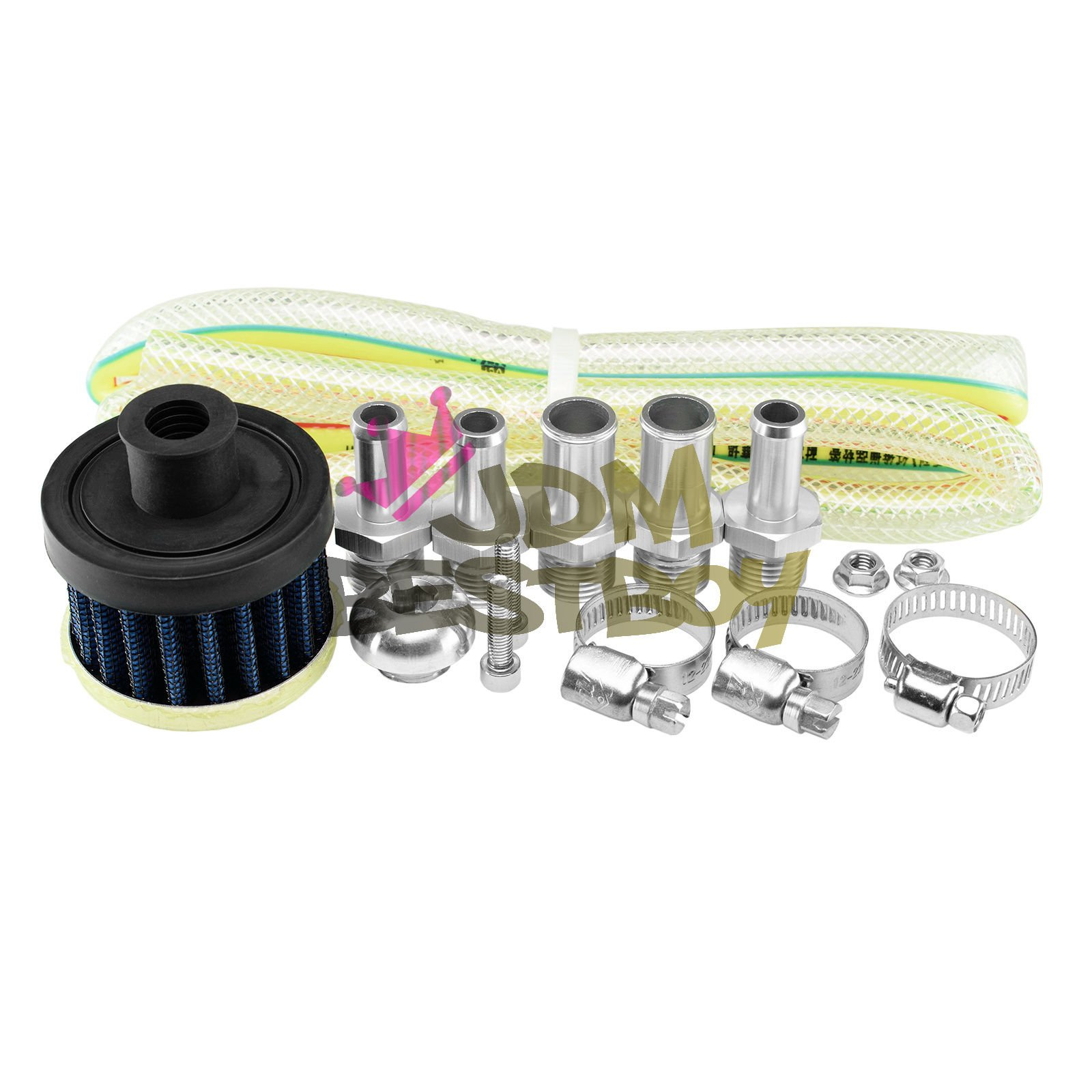 Black Billet Aluminum Engine Oil Catch Reservoir Breather Tank Can Cylinder With Filter #3 by JDMBESTBOY (Image #2)