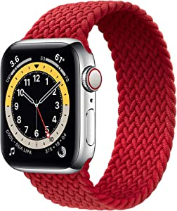 WAAILU Solo Loop Braided Band Woven Compatible for Apple Watch SE Series 6 40mm 44mm Compatible for Iwatch 5/4/3/2/1 38mm 42mm-(Red-42/44-4 )