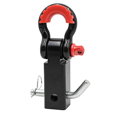 "ALL-TOP Forged Shackle Hitch Receiver (42,000 Lbs Max Break), 2"" Receiver & Pin + 3/4"" Shackle, with Isolator & Washers. Heavy Duty Powder Coated.: Automotive"