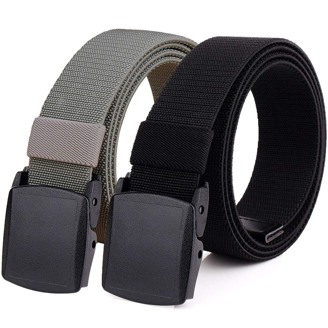 Hoanan 2-Pack Elastic Stretch Belt, Men's Plus Size No Metal Nylon Tactical Hiking Belt(black/grey-up to 50'')