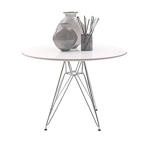 Homely - Mesa de Cocina o Comedor Redonda de 100 cm, de diseño  nórdico-Scandi, Patas de Metal Cromado inspiración Tower