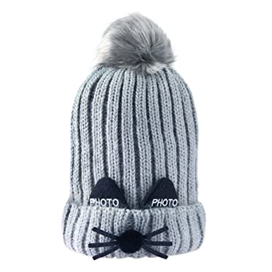 9f23882a119 Domybest Baby Kids Winter Warm Hat Beanie Cute Cat Cartoon Cat Style Double  Layer Knitted Bobble Hats Cap (Grey)  Amazon.co.uk  Clothing