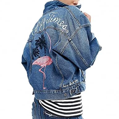 Denim Jacket Womens Jacket 2019 Spring Long-sleeved Single-breasted Flamingo Pattern Simple Fashion Coat Jackets & Coats