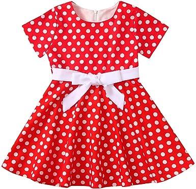 Kids Girls Child Vintage Dress Polka Dot Princess Swing Rockabilly Party Dresses