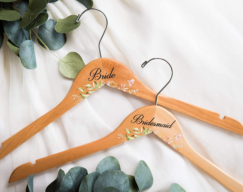 Wedding Hanger with Name or Titles for Bride /& Bridesmaids Bridal Hanger for Wedding Dress Mrs Hanger Floral Geometric Modern Wedding