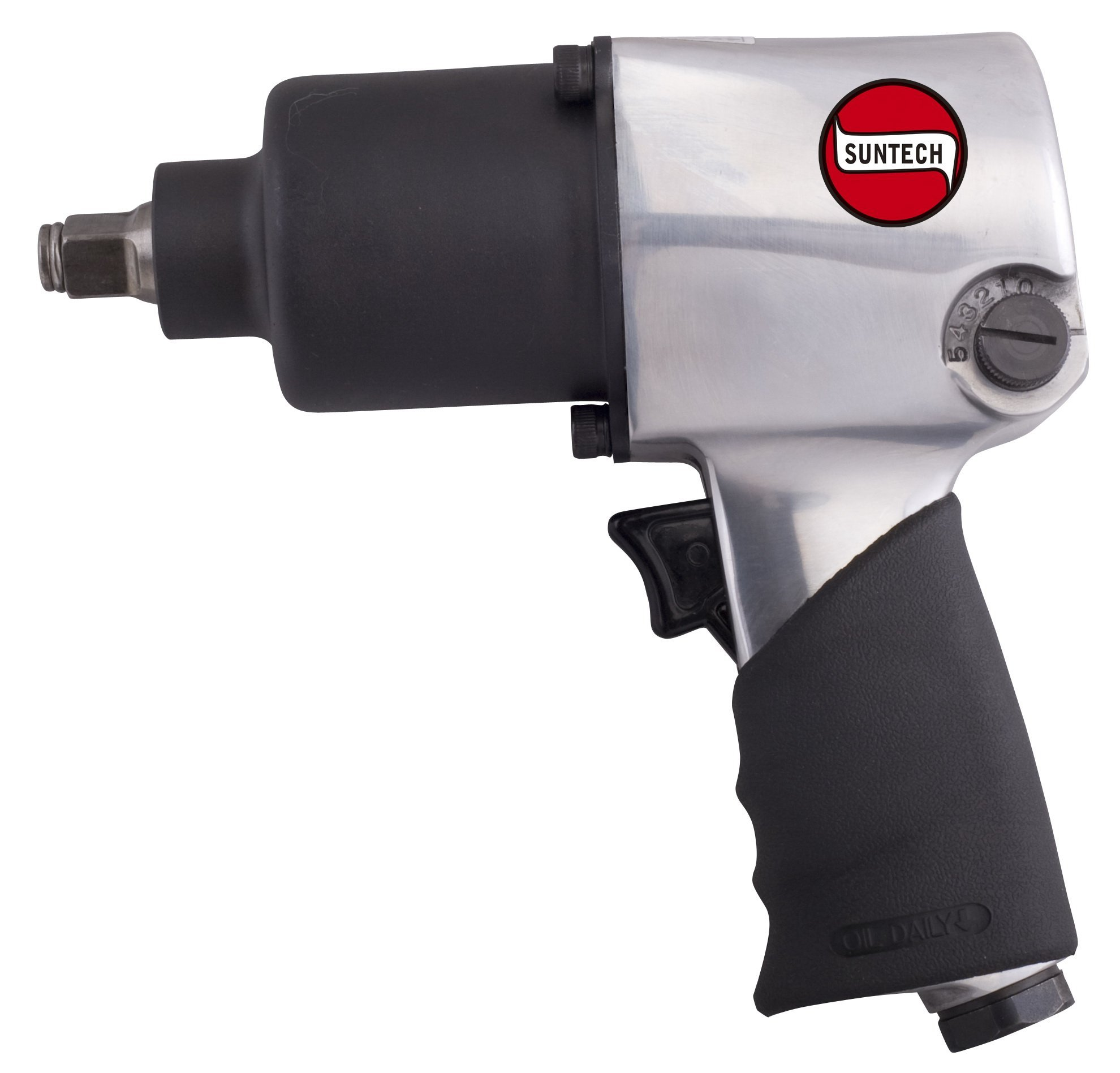 SUNTECH SM-43-231FRG Air Impact Wrench with Front Exhaust & Handle Grip, Silver, 1/2''