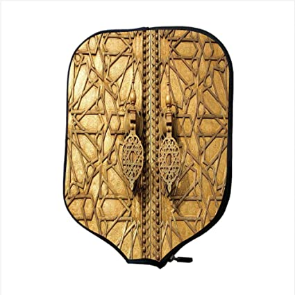 Neoprene Pickleball Paddle Racket Cover Case,Moroccan Decor,Main Golden Gates of Royal Palace