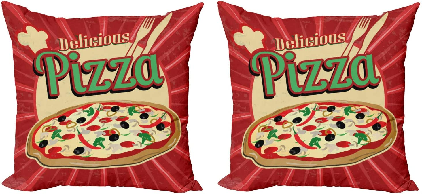 Lunarable Pizza Throw Pillow Cushion Cover Pack of 2, Graphic of Retro Inspired Design of Italian Food with Delicious Typography, Zippered Double-Side Digital Print Decor, 18