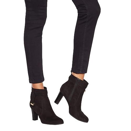 d7dce5421b5a Principles Womens Black Suedette  Cece  Heeled Ankle Boots 4  Amazon ...